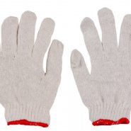 ถุงมือผ้าขอบเเดง